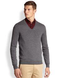 Burberry Brit - Gray Dockley Merino Wool Vneck Sweater for Men - Lyst