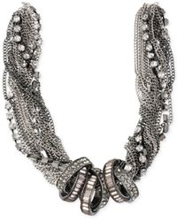 Steve Madden - Metallic Hematite-Tone Crystal Ring Multi-Chain Frontal Necklace - Lyst