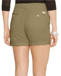Lauren by Ralph Lauren | Green Drawstring Chino Shorts | Lyst