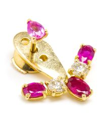 Yvonne Léon | Red Diamond And Ruby Lobe Earring | Lyst