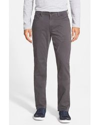 PAIGE | Gray 'normandie' Slim Straight Leg Twill Pants for Men | Lyst