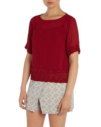 Vince Camuto | Red Short Sleeve Beaded Top | Lyst