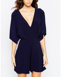 ASOS   Blue Kimono Plunge Mini Dress   Lyst