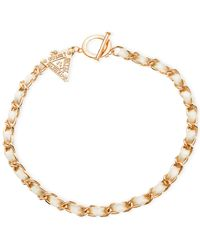 Guess | Metallic Rose Gold-tone Triangle Charm Toggle Wrap Bracelet | Lyst