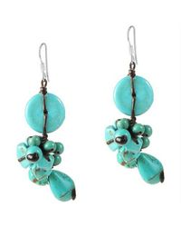 Aeravida | Blue Cute Donut Drop Tq .925 Silver Cluster Earrings | Lyst