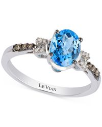 Le Vian | Petite Collection Blue Topaz (1-1/4 Ct. T.w.) And Diamond (1/10 Ct. T.w.) Ring In 14k White Gold | Lyst