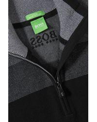 BOSS Green - Black Zip-neck Sweater 'zelchior Pro' In Water-repellent Cotton Blend for Men - Lyst