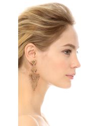 Miguel Ases - Metallic Triangle Statement Chandelier Earrings - Lyst