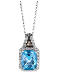 Le Vian | Blue Topaz (3 Ct. T.w.) And Diamond (1/8 Ct. T.w.) Pendant Necklace In 14k White Gold | Lyst