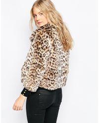Ganni | Multicolor Gisele Short Faux Leopard Fur Coat | Lyst