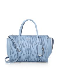 Miu Miu | Blue Matelasse Leather Satchel | Lyst