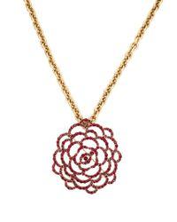 Oscar de la Renta - Pink Pavé Flower Pendant Necklace - Lyst