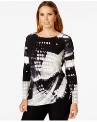 Calvin Klein | Black Plus Size Printed Ruched Top | Lyst