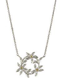 Cathy Waterman - Metallic Diamond Circle Of Flowers Pendant Necklace - Lyst