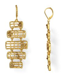 T Tahari | Metallic Sticks Stones Statement Earrings | Lyst
