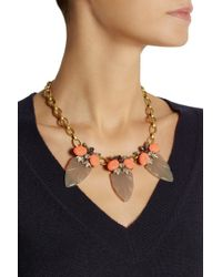 J.Crew - Metallic Arrowhead Goldtone Crystal Acetate and Cubic Zirconia Necklace - Lyst