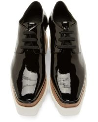 Stella McCartney | Black Patent Double-platform Shoes | Lyst