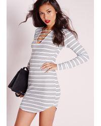 Missguided - Black Curve Hem Lace Up Front Bodycon Dress White Stripe - Lyst