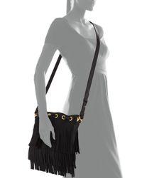 Saint Laurent - Black Small Suede Fringe Bucket Bag - Lyst