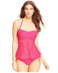 Jessica Simpson - Pink Crochet Side-Tie Hipster Bikini Bottom - Lyst
