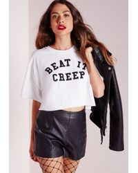 Missguided - Beat It Creep Cropped T Shirt White - Lyst