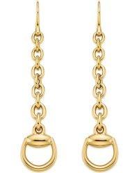 Gucci - Horsebit 18ct Yellow-gold Drop Earrings - Lyst