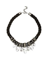 River Island | Black Chunky Rope Statement Necklace | Lyst