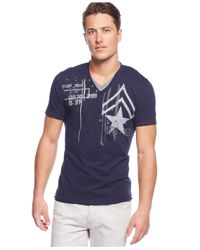 INC International Concepts - Blue Military-look Graphic T-shirt for Men - Lyst