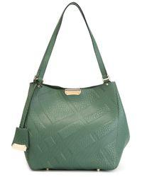 Burberry - Green Embossed Check Shoulder Bag - Lyst