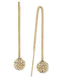BCBGeneration | Metallic Gold-tone Crystal Pavé Ball Threader Earrings | Lyst