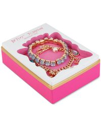 Betsey Johnson - Pink Rose Gold-tone Charm And Stretch Bracelet Set - Lyst