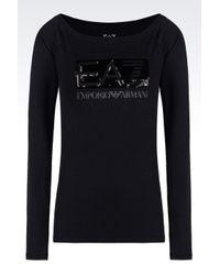 EA7 | Black T-shirt In Stretch Cotton | Lyst