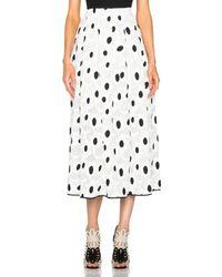 Oscar de la Renta | Black Spot Print Full Skirt | Lyst