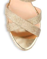 Jimmy Choo Metallic Vamp Glitter LamÉ Platform Sandals