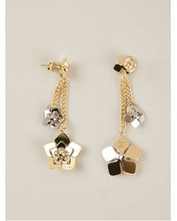Fendi - Metallic Floral Detail Earrings - Lyst