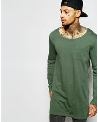 ASOS - Green Super Longline Long Sleeve T-shirt With Boat Neck And Pocket for Men - Lyst
