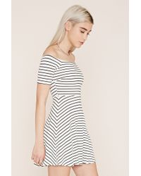 Forever 21 - White Striped Off-the-shoulder Dress - Lyst