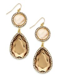 INC International Concepts | Metallic Gold-tone Faceted Double Drop Earrings | Lyst