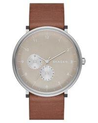 Skagen - Brown 'hald' Multifunction Leather Strap Watch for Men - Lyst