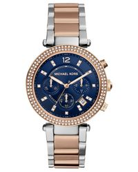 Michael Kors - Pink Women'S Chronograph Parker Two-Tone Stainless Steel Bracelet Watch 39Mm Mk6141 - Lyst