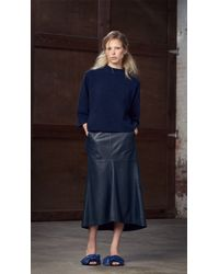 Tibi | Blue Leather Fluted Skirt | Lyst