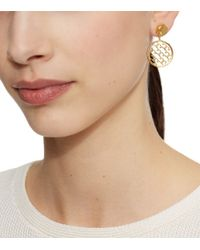 Tory Burch - Metallic Perforated Serif-t Drop Earring - Lyst