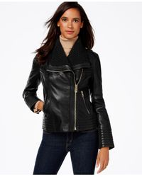 Michael Kors | Black Michael Cable-knit-trim Leather Moto Jacket | Lyst