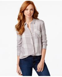 Calvin Klein Jeans | Gray Long-sleeve Plaid Shirt | Lyst