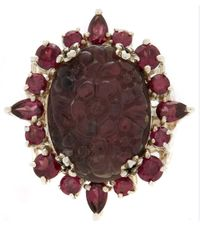 Stephen Dweck - Purple Silver Quartz And Garnet Carved Floral Ring - Lyst