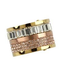 Michael Kors | Pink Brilliance Pave And Stone Barrel Ring | Lyst