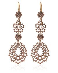 Laurent Gandini | Pink Rose Gold Lace Flower Drop Earrings | Lyst