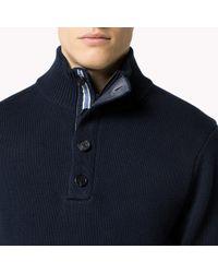 Tommy Hilfiger | Blue Cotton Mock Neck Sweater for Men | Lyst