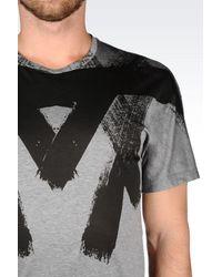 Emporio Armani | Gray Brush Stroke Print T-shirt for Men | Lyst