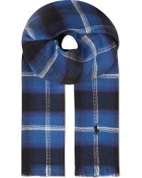 Ralph Lauren | Blue Peached Cotton Flannel Checked Scarf for Men | Lyst
